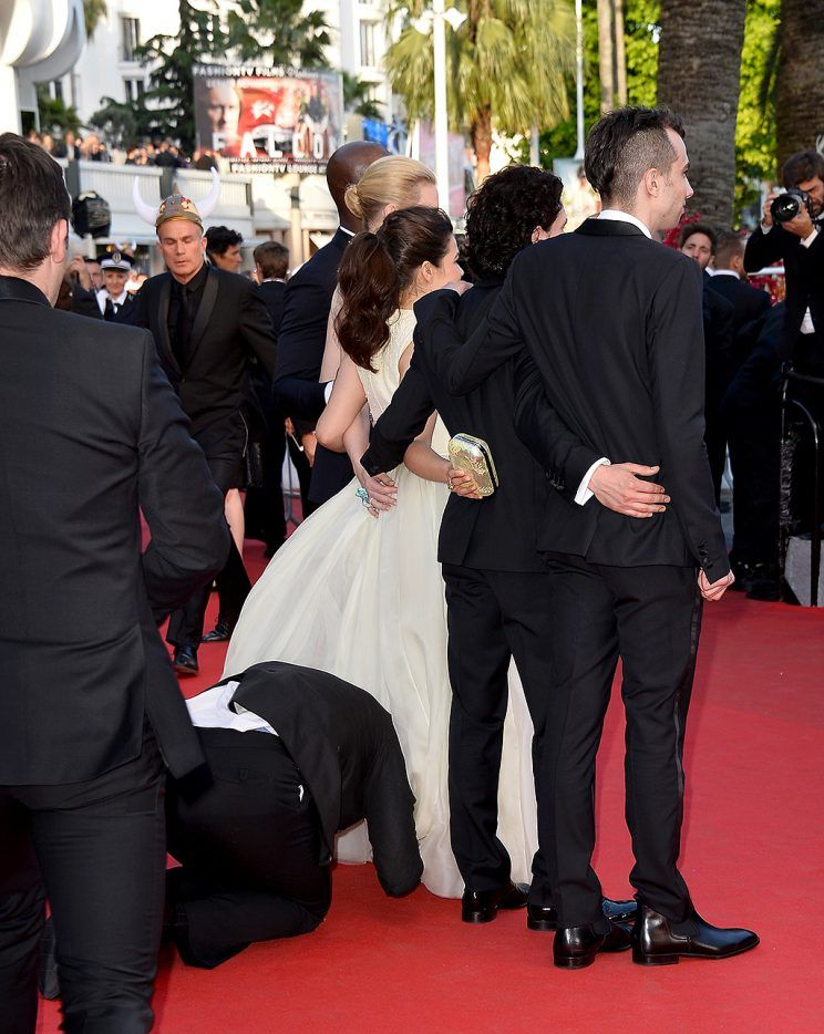 Sediuk attempted to crawl underneath America Ferrera's gown at the Cannes Film Festival. (Photo: Pascal Le Segretain/WireImage)
